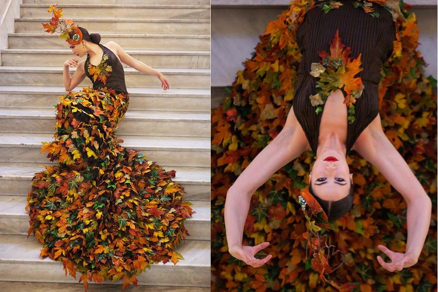 Selene Muñoz iført Bladkjolen, som blevet lavet til Sommerballetten på Bellevue Teatret.